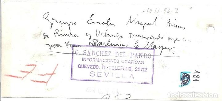 Militaria: FG039 GUERRA CIVIL - VISTA DEL GRUPO ESCOLAR PRIMO DE RIVERA EN SANLÚCAR LA MAYOR (SEVILLA) - 1937 - Foto 2 - 43769108