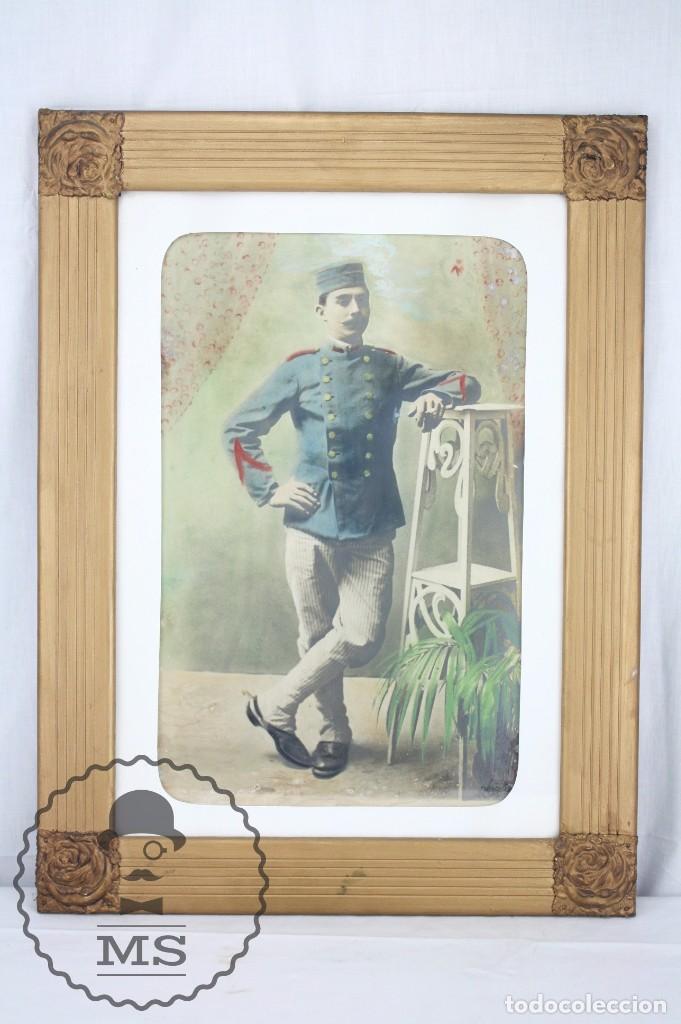 ANTIGUA FOTOGRAFÍA COLOREADA CON MARCO DE ÉPOCA - SOLDADO GUERRA DE MARRUECOS / RIF / RIFF- C. 1910 (Militar - Fotografía Militar - Otros)