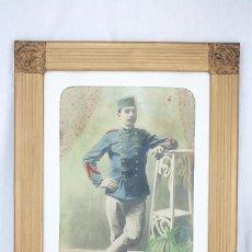 Militaria: ANTIGUA FOTOGRAFÍA COLOREADA CON MARCO DE ÉPOCA - SOLDADO GUERRA DE MARRUECOS / RIF / RIFF- C. 1910. Lote 65032471