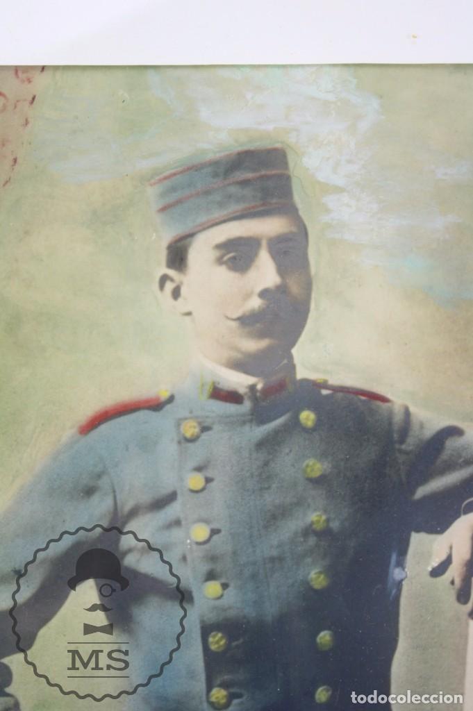 Militaria: Antigua Fotografía Coloreada con Marco de Época - Soldado Guerra de Marruecos / Rif / Riff- c. 1910 - Foto 4 - 65032471