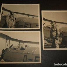 Militaria: PILOTO ALEMAN DE LA LEGION CONDOR EN AVION GUERRA CIVIL HANS HARTWIG 3 FOTOGRAFIAS. Lote 66267106