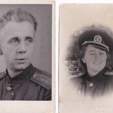 Militaria: LOTE DE 2 FOTOGRAFIAS DE SOLDADOS RUSOS DE LOS AÑOS 50 MEDIDAS 12CM X 18CM CADA UNA. Lote 66747766