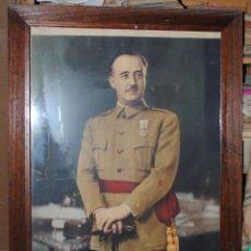 Militaria: GRAN CUADRO CON EL RETRAO OFICIAL DE FRANCISCO FRANCO, 1,08 X 0,75 CM.. Lote 114737146