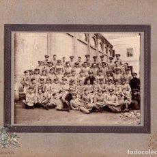 Militaria: FOTOGRAFÍA DE ESTUDIO, MILITARES DEL CUERPO DE INGERIEROS - ALFONSO XIII - 26,5 X 21,5 CM. Lote 81083588
