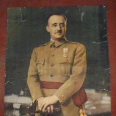 Militaria: RETRATO DE GRAN FORMATO DE FRANCISCO FRANCO. FOTO JALÓN ANGEL. 86X59CM. Lote 198649072