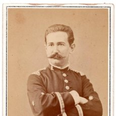 Militaria: FOTOGRAFÍA TENIENTE CORONEL DEL CUERPO DE INGENIEROS ALFONSO XII - FOTOGRAFO E.OTERO 10,5 X 6,4 CM. Lote 86435956