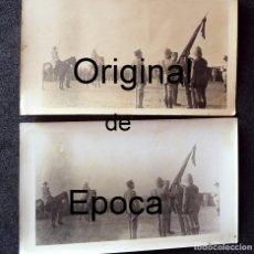 Militaria: (JX-170613)DOS FOTOGRAFIAS ALBUMINAS JURA DE BANDERA,CAMPAMENTO DE T´ZENIN ,CEUTA,1914. Lote 88780856
