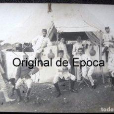 Militaria: (JX-170674)POSTAL FOTOGRAFICA DE JEFES Y OFICIALES CON UNIFORME DE RAYADILLO , MONTE ARRUIT. Lote 91444600
