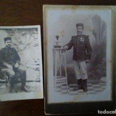 Militaria: PAREJA DE FOTOGRAFÍAS MILITARES ALFONSINOS. UNO DEL REGIMENTO CASTILLA 16, BADAJOZ.. Lote 93407865