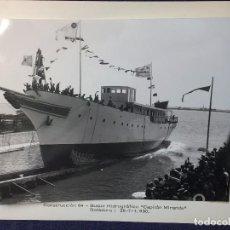 Militaria: FOTOGRAFÍA BOTADURA DEL BUQUE URUGUAYO CAPITAN MIRANDA HIDROGRÁFICO ESCUELA ASTILLERO MATAGORDA 1930. Lote 93770920