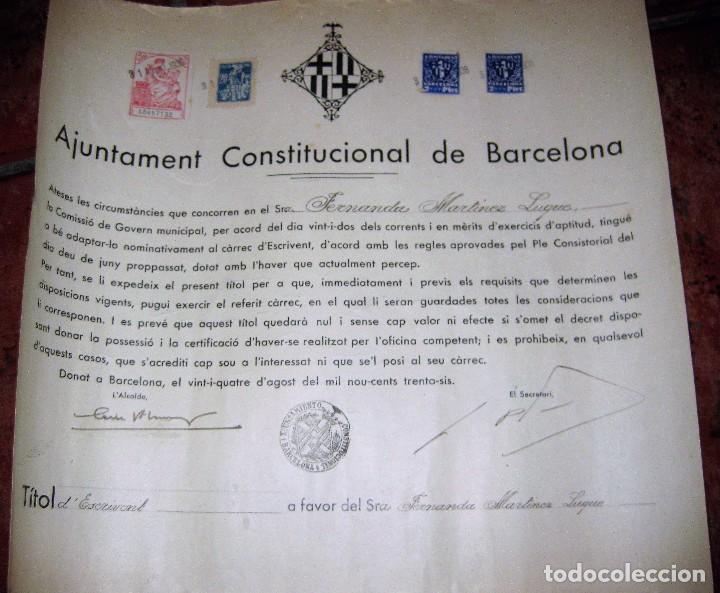 AJUNTAMENT CONSTITUCIONAL DE BARCELONA TITULO ESCRIBIENTE SECRETARIO GUERRA CIVIL 1936 VIÑETA 34/31 (Militar - Fotografía Militar - Guerra Civil Española)