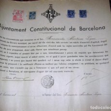 Militaria: AJUNTAMENT CONSTITUCIONAL DE BARCELONA TITULO ESCRIBIENTE SECRETARIO GUERRA CIVIL 1936 VIÑETA 34/31. Lote 94101610
