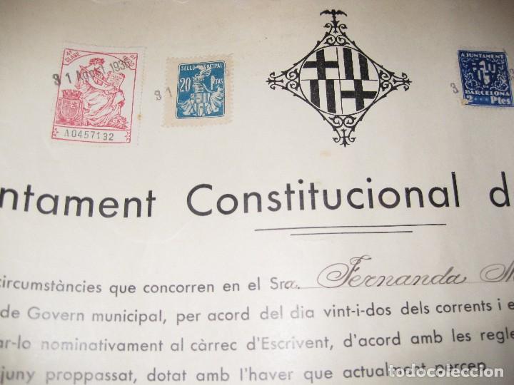 Militaria: ajuntament constitucional de barcelona titulo escribiente secretario guerra civil 1936 viñeta 34/31 - Foto 2 - 94101610