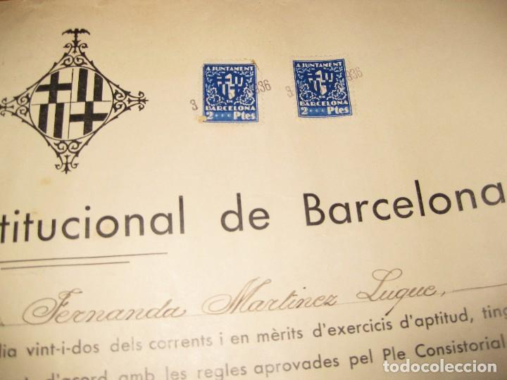 Militaria: ajuntament constitucional de barcelona titulo escribiente secretario guerra civil 1936 viñeta 34/31 - Foto 3 - 94101610