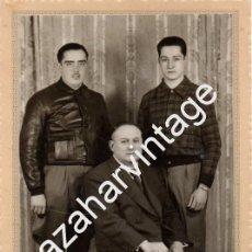 Militaria: MADRID, 1937, GUERRA CIVIL, MILICIANOS JUNTO A SU PADRE, 98X148MM. Lote 95048959