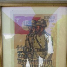 Militaria: POSTER EMOLDURADO DE PROPAGANDA NAZI. .IDADE DESCONHECIDA.. Lote 95538567