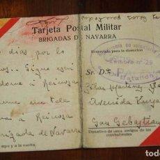Militaria: POSTAL MILITAR DE BRIGADAS DE NAVARRA, PLENA GUERRA CIVIL, CIRCULADA EN 1937, SELLO DEL REGIMIENTO D. Lote 95990855
