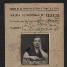 Militaria: TARJETA IDENTIDAD, FERROCARRILES, MADRIDA ZARAGOZA Y ALICANTE, VER FOTOS. Lote 98048279