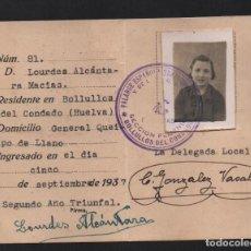 Militaria: CARNET, F.E. BOLLULLOS DEL CONDADO, HUELVA, VER FOTOS. Lote 98049015