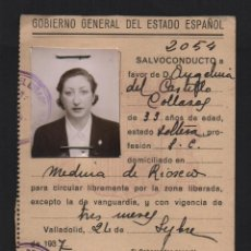 Militaria: SALVOCONDUCTO, VALLADOLID, AÑO 1937, GOBIERNO GENERAL DEL ESTADO, VER FOTOS. Lote 98049215