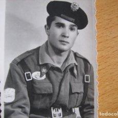 Militaria: FOTOGRAFÍA SOLDADO DEL EJÉRCITO ESPAÑOL DIVISIÓN ACORAZADA BRUNETE. CAMPAMENTO. Lote 98166271