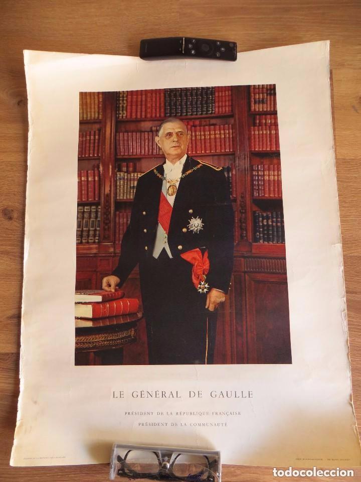 RARO GRAN RETRATO OFICIAL DEL GENERAL DE GAULLE COMO PRESIDENTE DE LA REPUBLICA FRANCESA. AÑOS 60. (Militar - Fotografía Militar - Otros)