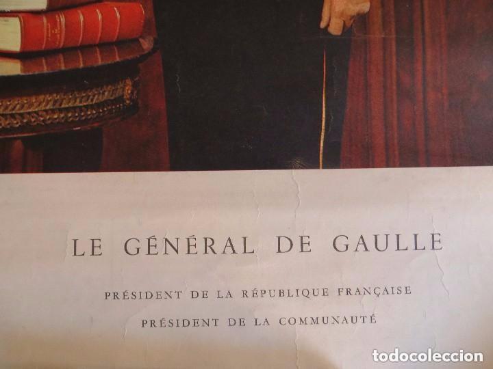 Militaria: RARO GRAN RETRATO OFICIAL DEL GENERAL DE GAULLE COMO PRESIDENTE DE LA REPUBLICA FRANCESA. AÑOS 60. - Foto 4 - 99187215