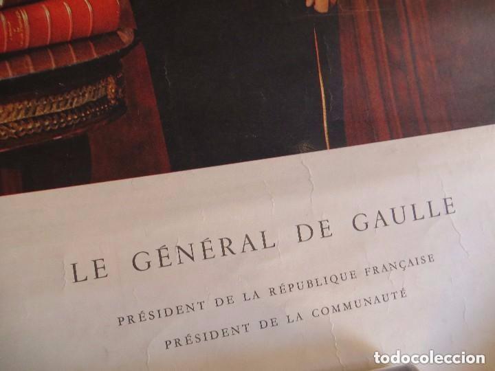 Militaria: RARO GRAN RETRATO OFICIAL DEL GENERAL DE GAULLE COMO PRESIDENTE DE LA REPUBLICA FRANCESA. AÑOS 60. - Foto 7 - 99187215