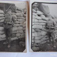 Militaria: LOTE 2 FOTOGRAFIAS MILITAR EN TRINCHERAS, AFRICA. Lote 99638819