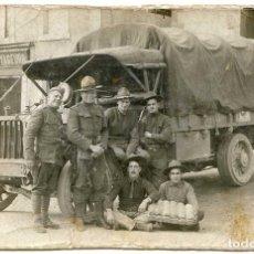 Militaria: CAMIÓN Y SOLDADO ESPAÑOL EN FUERZAS AMERICANAS. EMIGRANTE ? 2/11/1918, 9 DÍAS ANTES DEL FIN. Lote 120875399