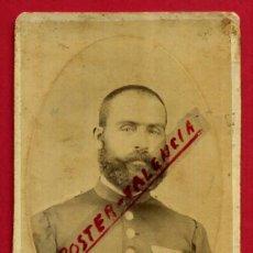Militaria: FOTOGRAFIA TARJETA CARTA DE VISITA, MILITAR MEDALLAS 1879, FOTO A ESPERON VALENCIA, ORIGINAL ,TV2392. Lote 101730915