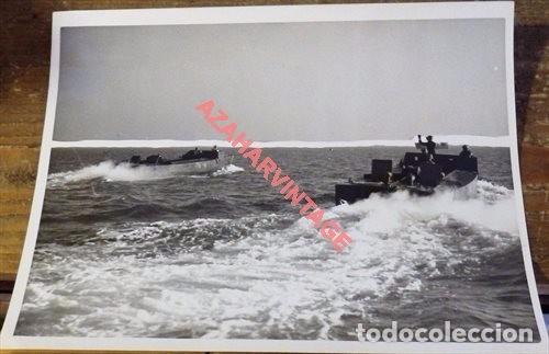 WWII, LANCHAS DE DESEMBARCO TROPAS INGLESAS, POBABLE DESEMBARCO DE NORMANDIA,20X15 CMS (Militar - Fotografía Militar - II Guerra Mundial)