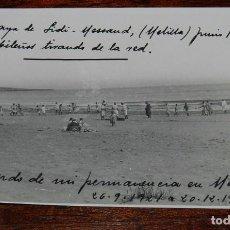 Militaria: FOTOGRAFIA DE LA PLAYA DE SIDI MESSAOUD, MELILLA, JUNIO DE 1922, CABILEÑOS TIRANDO DE LA RED, GUERRA. Lote 103486619