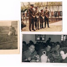 Militaria: LOTE DIVISIÓN AZUL 3 FOTOS:1 RUSIA Y 2 POSTGUERRA: MISMO COMBATIENTE Y OTROS VETERANOS, MEDALLAS. Lote 104014803