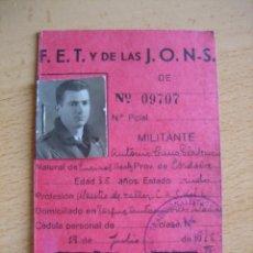 Militaria: CARNET PROVISIONAL FALANGE CASE. 1938. Lote 105611139