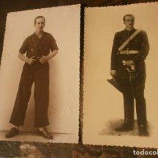 Militaria: FOTOGRAFÍA JOVEN MILITAR FALANGE 5 ABRIL 1938 Y FOTO POSTERIOR OFICIAL EJERCITO MEDIDAS 14 X 8,5 CM.. Lote 107541703