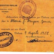 Militaria: SALVOCONDUCTO GUERRA CIVIL. VALENCIA AGOSTO 1936. COMITE EJECUTIVO POPULAR. Lote 108368591