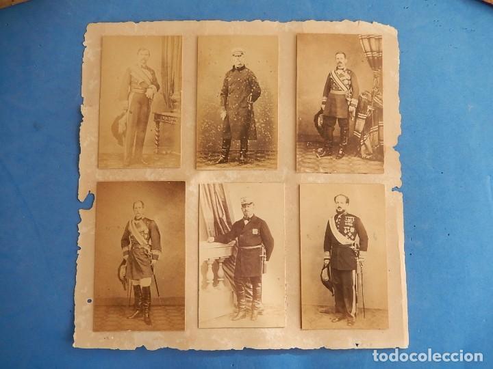 SEIS FOTOGRAFÍAS ENMARCADAS DE GENERALES ESPAÑOLES. SIGLO XIX. (Militar - Fotografía Militar - Otros)