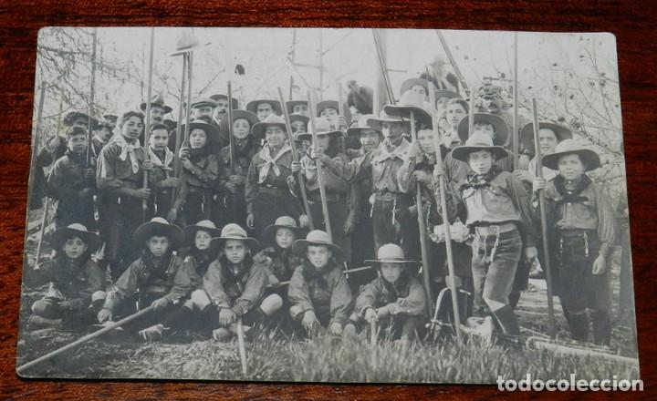 ANTIGUA FOTO POSTAL DE BOY SCOUTS EN ESPAÑA, FOTOGRAFIA H. VALLVÉ, EXPLORADORES, ESCULTISMO, VER LAS (Militar - Fotografía Militar - Otros)