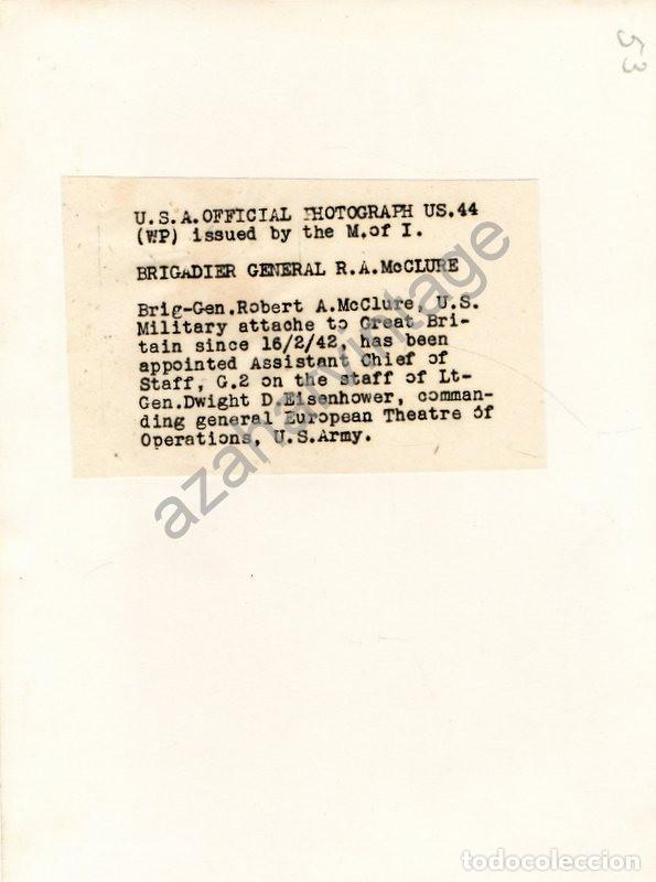 Militaria: WWII, BRIGADIER GENERAL ROBERT A.MCCLURE, JEFE DE INTELIGENCIA DE EISENHOWER,155X205MM - Foto 2 - 111037599