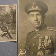 Militaria: CONJUNTO DE 2 FOTOGRAFIAS DE MILITAR CONDECORADO.GUERRA CIVIL? FOTO CALVO.ECIJA.SEVILLA 1948. Lote 113622311