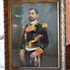Militaria: GRAN RETRATO GRAN FORMATO CARBONCILLO PASTEL OFICIAL DE MARINA TRAJE DE GALA J MARISTANY 1891. Lote 114251859