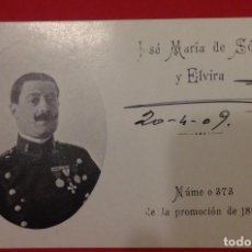 Militaria: TARJETA MILITAR DE JOSE MARIA DE SOLA Y ELVIRA Nº 373 DE LA PROMOCION 1893. Lote 115110811