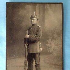 Militaria: FOTOGRAFÍA ESTUDIO CALIDAD. SOLDADO IMPERIAL. PICKELHAUBE. PRUSIA. ALEMANIA. I GUERRA MUNDIAL. Lote 116252227