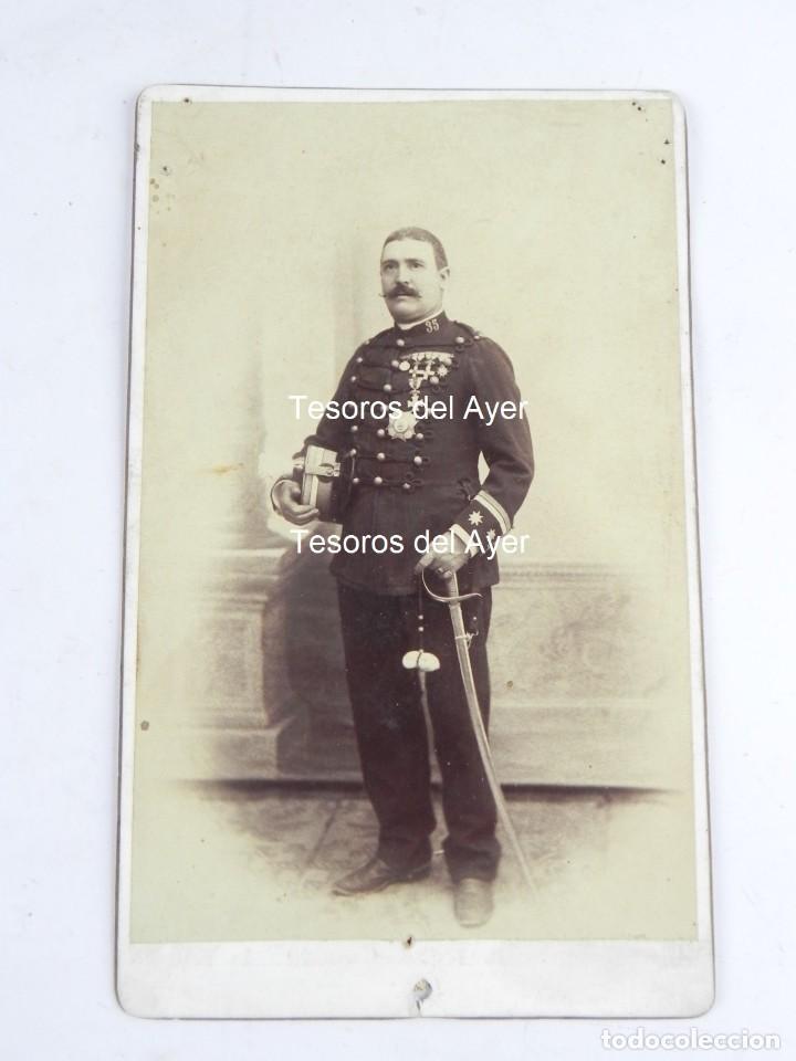 FOTOGRAFIA ALBUMINA DE OFICIAL (TENIENTE CORONEL), REG. 35, CABALLERIA, EPOCA ALFONSO XIII, FOTO SAN (Militar - Fotografía Militar - Otros)