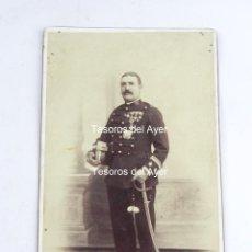 Militaria: FOTOGRAFIA ALBUMINA DE OFICIAL (TENIENTE CORONEL), REG. 35, CABALLERIA, EPOCA ALFONSO XIII, FOTO SAN. Lote 116334271