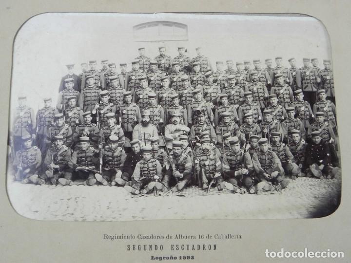FOTOGRAFIA ALBUMINA 1893 REGIMIENTO CAZADORES DE ALBUERA 16 DE CABALLERIA, SEGUNDO ESCUADRON, LOGRO (Militar - Fotografía Militar - Otros)