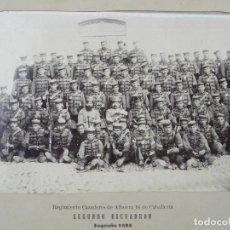 Militaria: FOTOGRAFIA ALBUMINA 1893 REGIMIENTO CAZADORES DE ALBUERA 16 DE CABALLERIA, SEGUNDO ESCUADRON, LOGRO. Lote 116426855