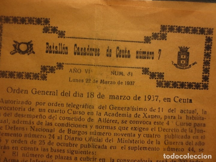 Militaria: ORDEN DEL GENERALISIMO FRANCO GUERRA CIVIL BATALLON CAZADORES CEUTA 1937 DEFENSA FALANGE BURGOS - Foto 4 - 117652139