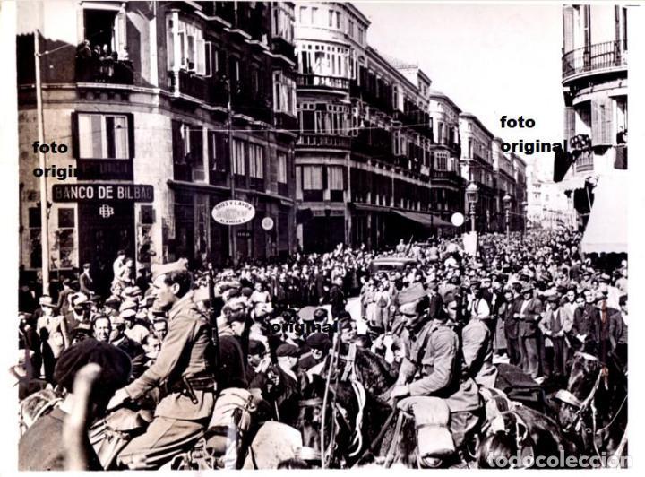 ENTRADA TROPAS DE FRANCO MALAGA CAPITAL FEBRERO 1937 GUERRA CIVIL (Militar - Fotografía Militar - Guerra Civil Española)
